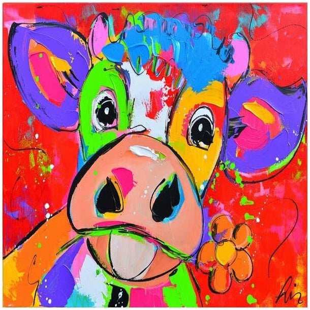 Colorful Cow Stares 5D DIY Paint By Diamond Kit - Paint by Diamond