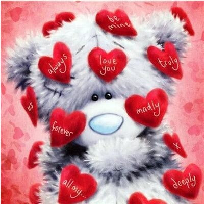 Cartoon Bear In Love 5D DIY Paint By Diamond Kit - Paint by Diamond
