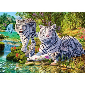 The Stream Of White Tiger 5D DIY Paint By Diamond Kit - Paint by Diamond