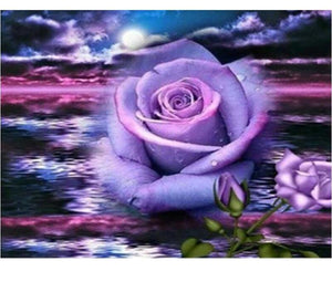 Purple Roses Flower 5D DIY Paint By Diamond Kit