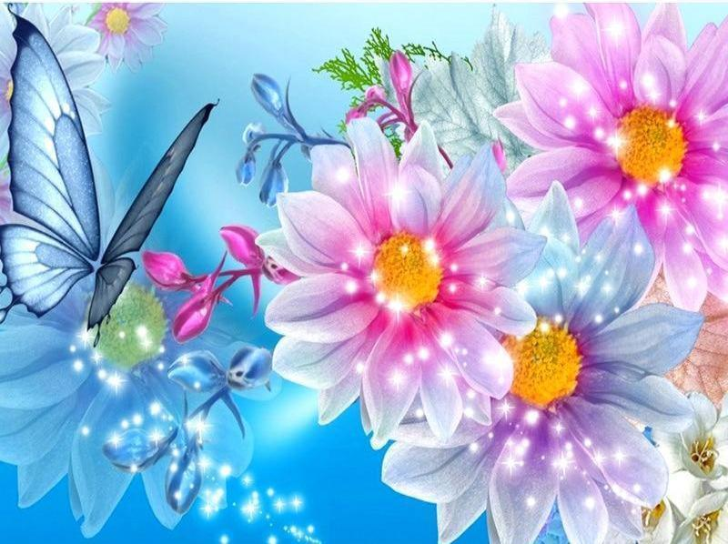 Flowers & Butterfly 5D DIY Paint By Diamond Kit