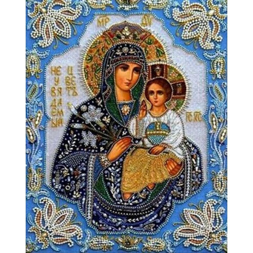 Mother Mary With Baby Jesus 5D DIY Paint By Diamond Kit - Paint by Diamond