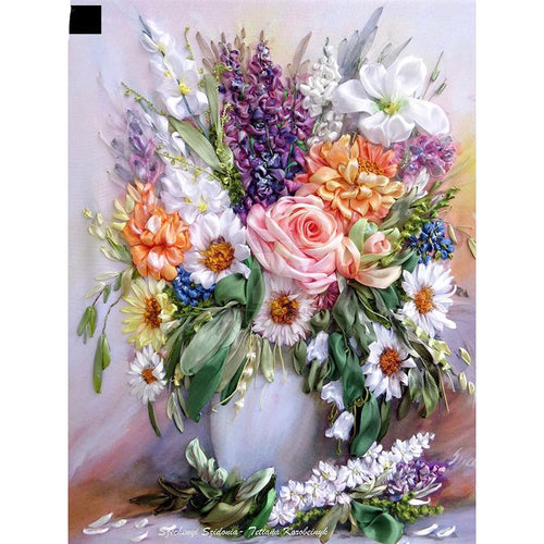 Flowers Vase Decor 5D DIY Paint By Diamond Kit