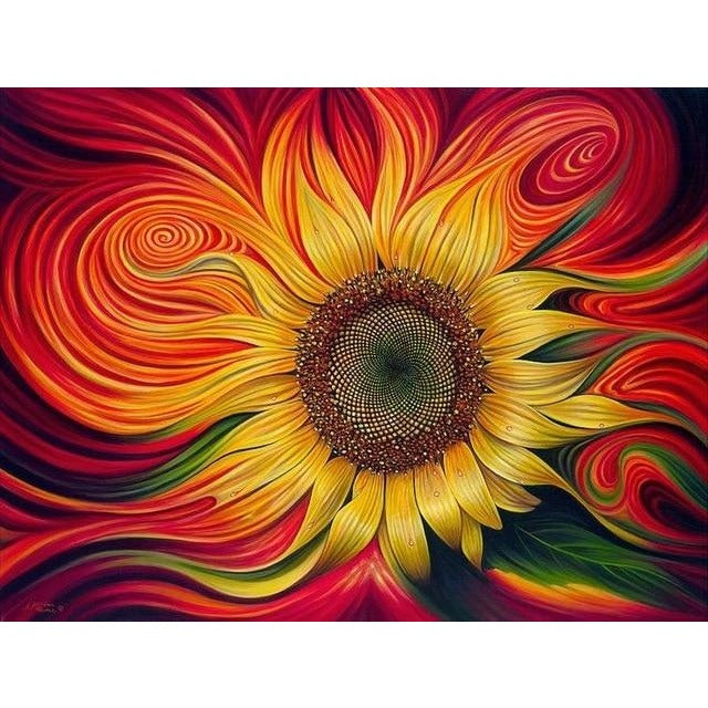 Swirly Sunflower 5D DIY Paint By Diamond Kit - Paint by Diamond