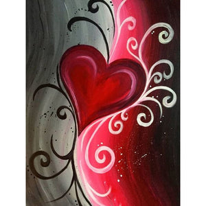 Red heart 5D DIY Paint By Diamond Kit - Paint by Diamond