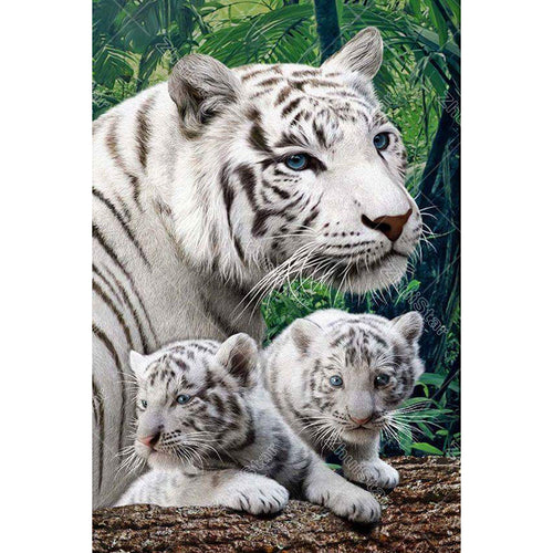 White Tiger & Cubs 5D DIY Paint By Diamond Kit