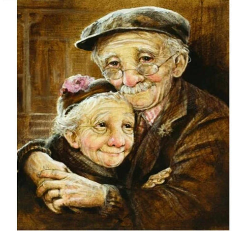 Cute Grandfather & Grandmother 5D DIY Paint By Diamond Kit