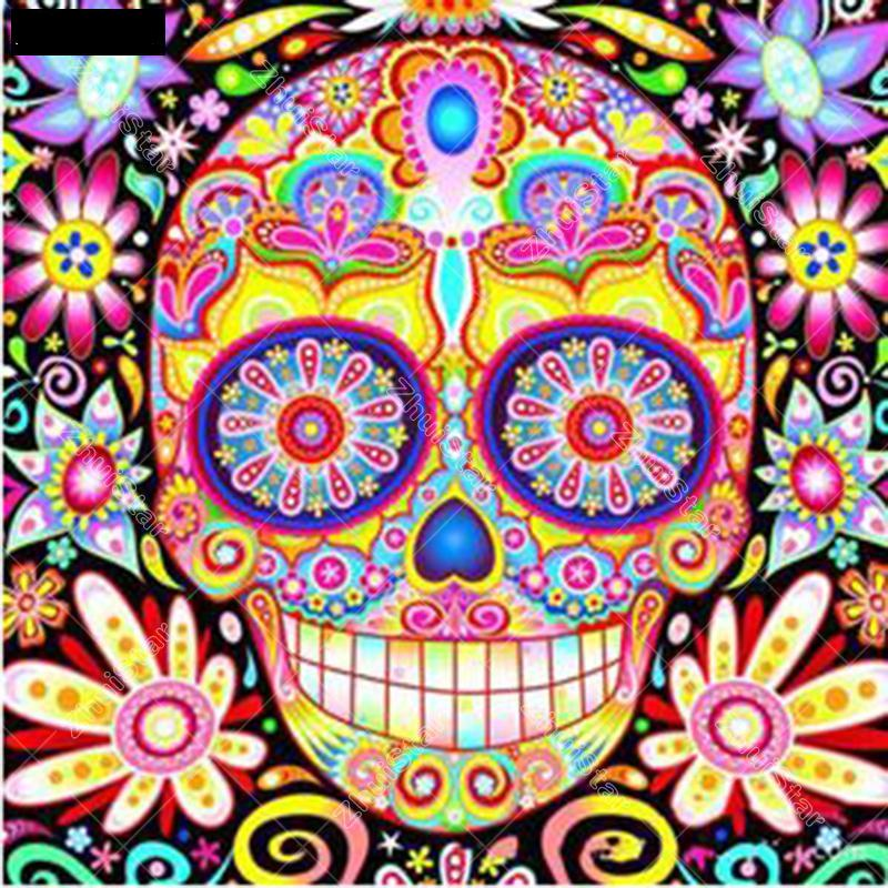Colorful Smiling Skull 5D DIY Paint By Diamond Kit