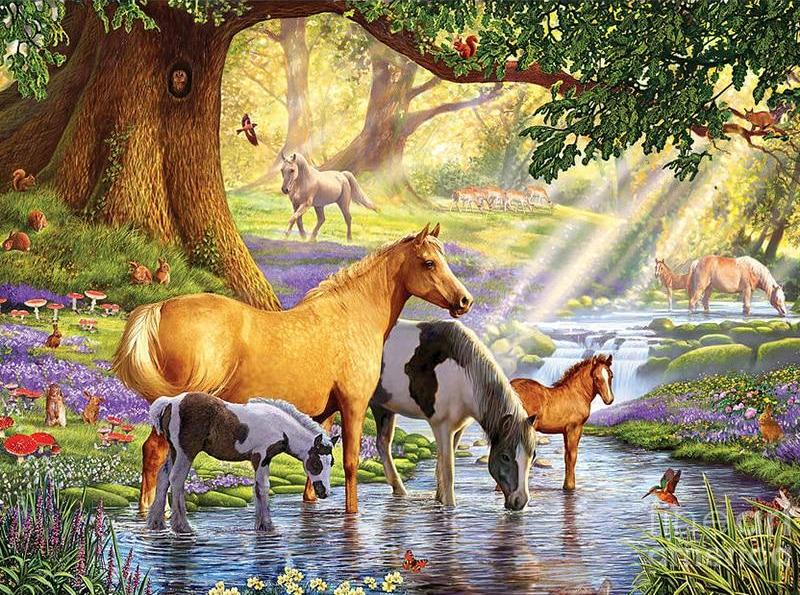 Horses Drinking Water 5D DIY Paint By Diamond Kit - Paint by Diamond