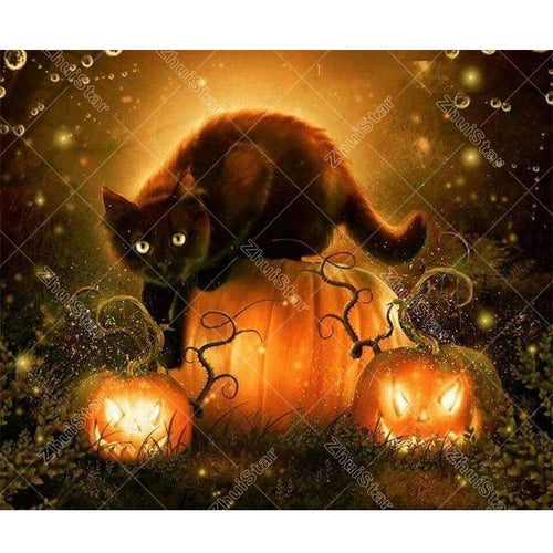 Halloween Cat 5D DIY Paint By Diamond Kit - Paint by Diamond