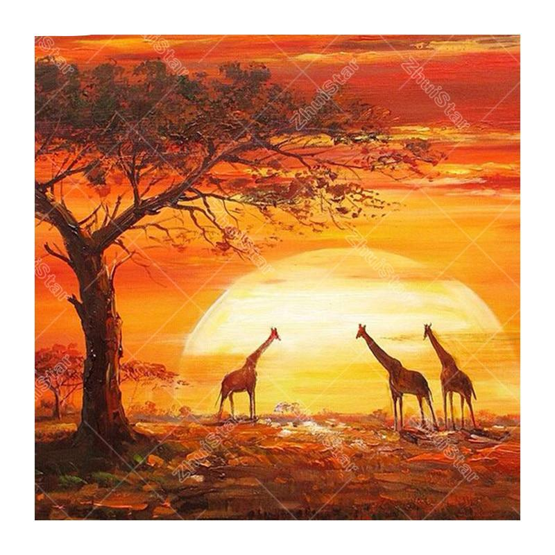 Giraffe under sunset 5D DIY Paint By Diamond Kit