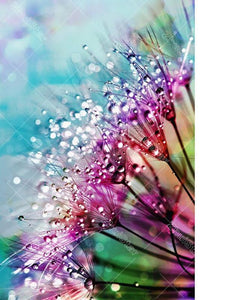 Water Drops Colored Flower 5D DIY Paint By Diamond Kit