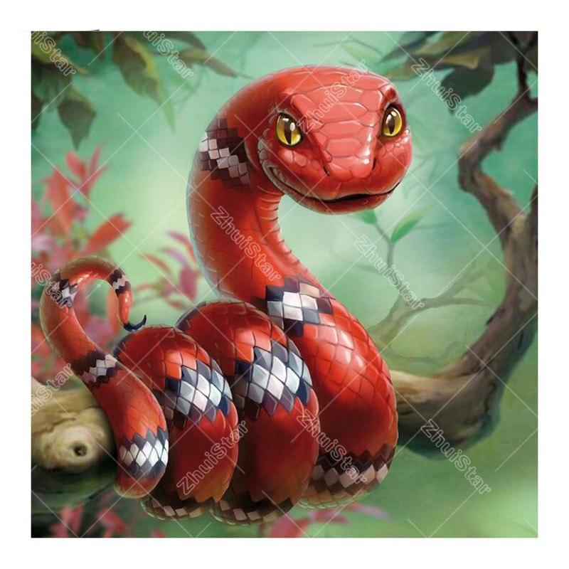 Red Snake 5D DIY Paint By Diamond Kit