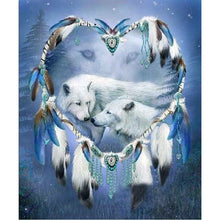 Wolf and Feathers Heart 5D DIY Paint By Diamond Kit - Paint by Diamond