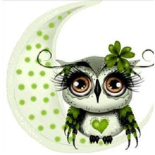 Green Owl And The Moon 5D DIY Paint By Diamond Kit - Paint by Diamond