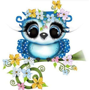 Blue Flowery Owl 5D DIY Paint By Diamond Kit - Paint by Diamond