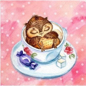 Coffee Cup Owl 5D DIY Paint By Diamond Kit - Paint by Diamond