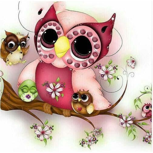 Cute Mother Owl With Babies 5D DIY Paint By Diamond Kit - Paint by Diamond