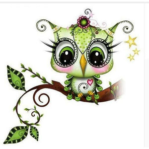 Green Owl 5D DIY Paint By Diamond Kit - Paint by Diamond