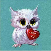 Loving Owl Holding Heart 5D DIY Paint By Diamond Kit