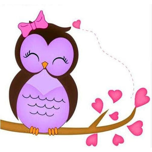 Perfect Purple Owl 5D DIY Paint By Diamond Kit - Paint by Diamond