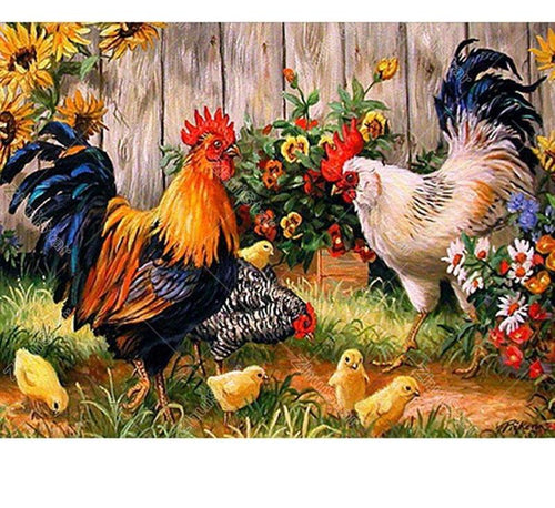 Hen Family 5D DIY Paint By Diamond Kit
