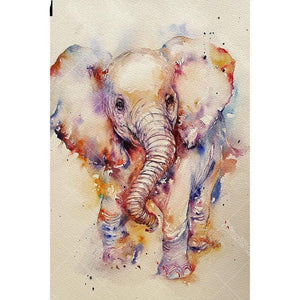 Colored Pastel elephant 5D DIY Paint By Diamond Kit
