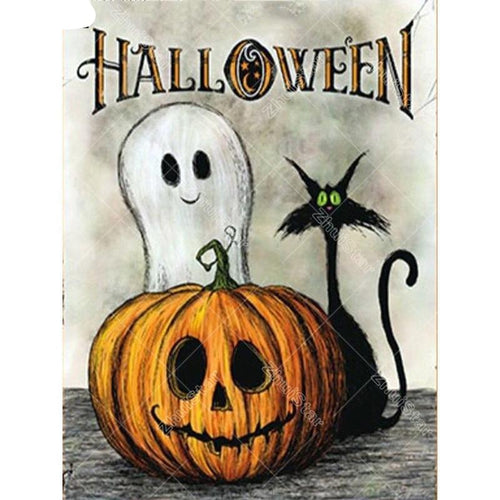 5D DIY Diamond Painting Halloween Cartoon Diamond Embroidery Pumpkin Full Square Ghost Mosaic Picture Of Rhinestone Gift XY1 - Paint by Diamond