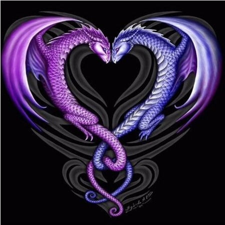 Purple Dragon Heart 5D DIY Paint By Diamond Kit - Paint by Diamond