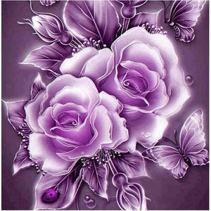 Flowers In Purple 5D DIY Paint By Diamond Kit - Paint by Diamond