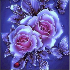 Glowing Purple Roses 5D DIY Paint By Diamond Kit - Paint by Diamond
