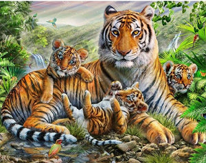 Tiger Family 5D DIY Paint By Diamond Kit - Paint by Diamond