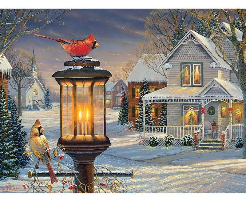 Cardinals in Winter 5D DIY Paint By Diamond Kit