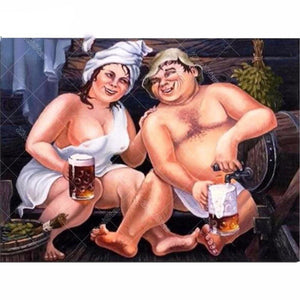 Drinking Couple Painting 5D DIY Paint By Diamond Kit