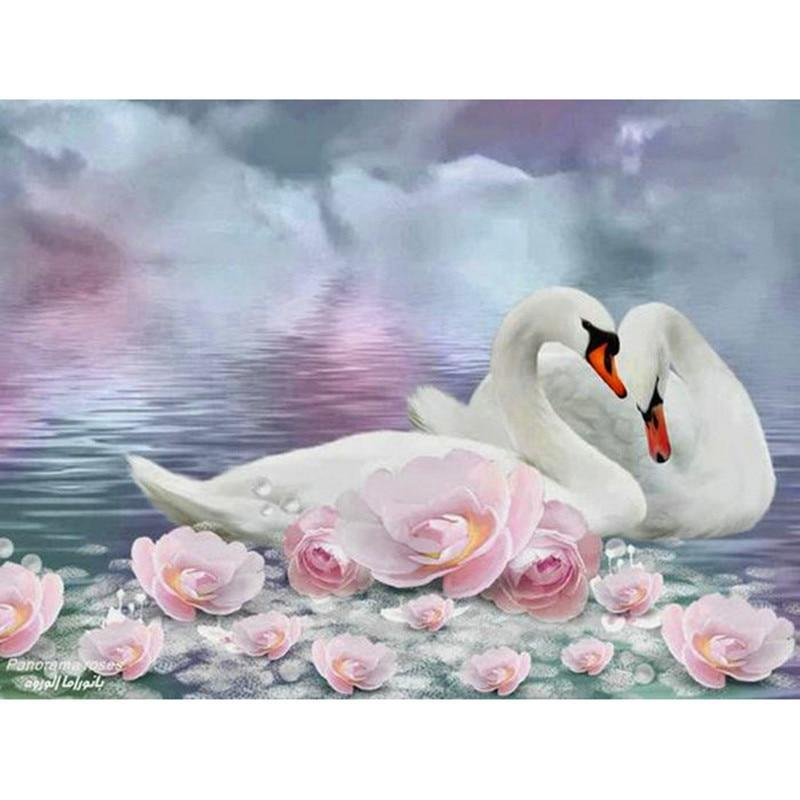 Diamond mosaic Paste Crafts Crystal diamond embroidery animal swan lovers diy 5d Diamond painting Cross stitch canvas XY1 - Paint by Diamond
