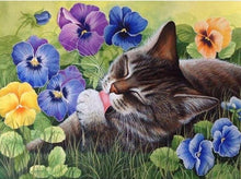 Cat and Flowers 5D DIY Paint By Diamond Kit