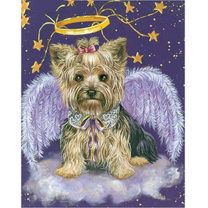 5D Diy Diamond Painting Full Drill Square Rhinestones Dog Angel Cross Stitch Embroidery Diamond Mosaic Christmas Decoration XY1 - Paint by Diamond