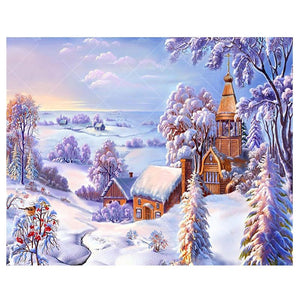 Snowy Village 5D DIY Paint By Diamond Kit - Paint by Diamond