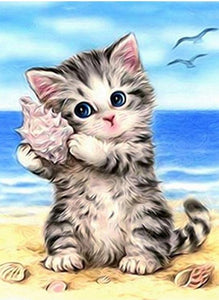 Cartoon Grey Kitten 5D DIY Paint By Diamond Kit