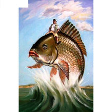 Big fish and people 5D DIY Paint By Diamond Kit