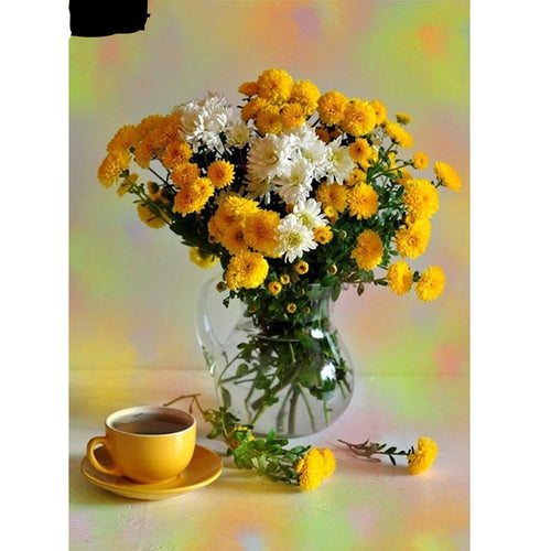 Yellow Flower Vase 5D DIY Paint By Diamond Kit - Paint by Diamond