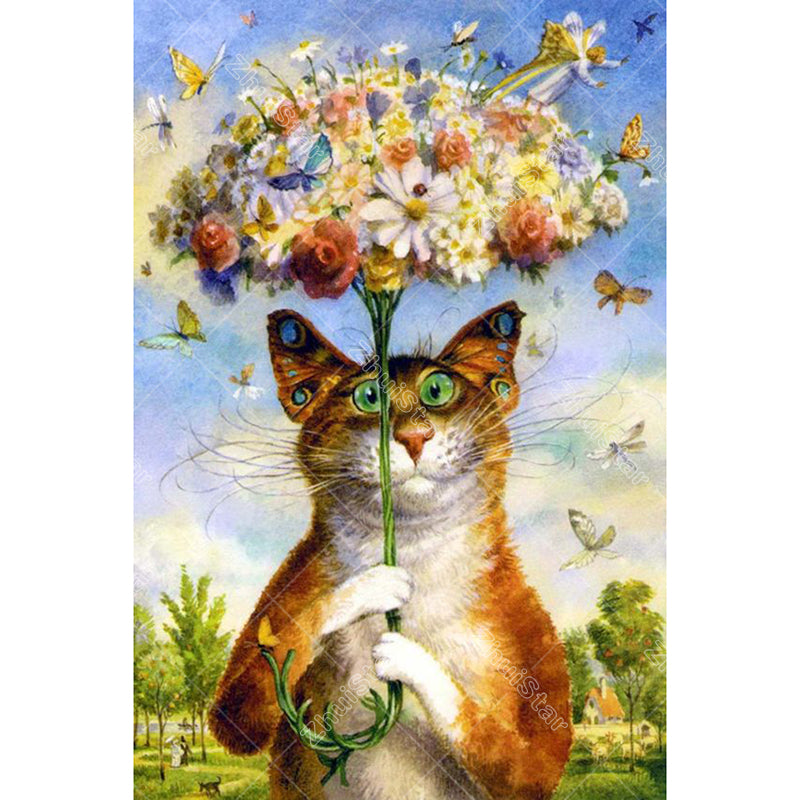 Flowers Umbrella Cat 5D DIY Paint By Diamond Kit