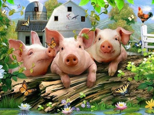 Three Cute Pigs 5D DIY Paint By Diamond Kit