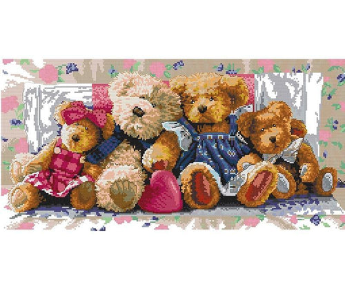 Teddy Bear Family 5D DIY Paint By Diamond Kit