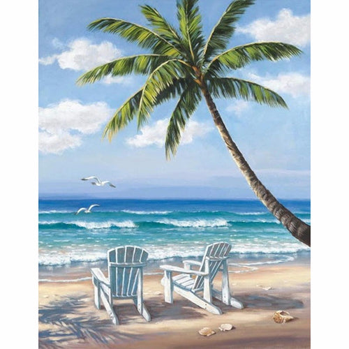 Beach & Coconut Trees 5D DIY Paint By Diamond Kit