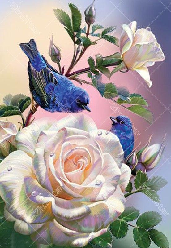 Flowers & Birds 5D DIY Paint By Diamond Kit