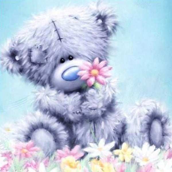 Bear With Flower 5D DIY Paint By Diamond Kit