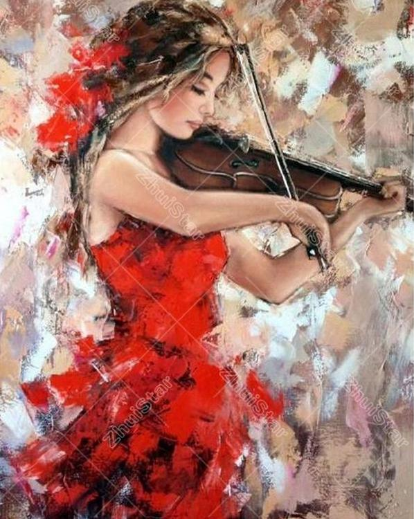 Girl Playing The Violin 5D DIY Paint By Diamond Kit
