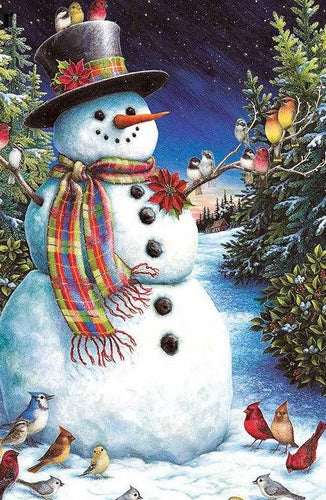 Snowman & Birds 5D DIY Paint By Diamond Kit