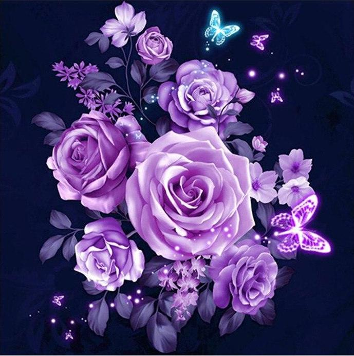 Purple Roses 5D DIY Paint By Diamond Kit